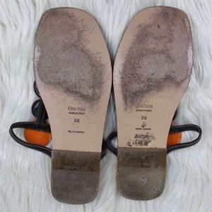 Miu Miu Shoes - Miu Miu Mirrored Medallion Thong Flat Sandals 36